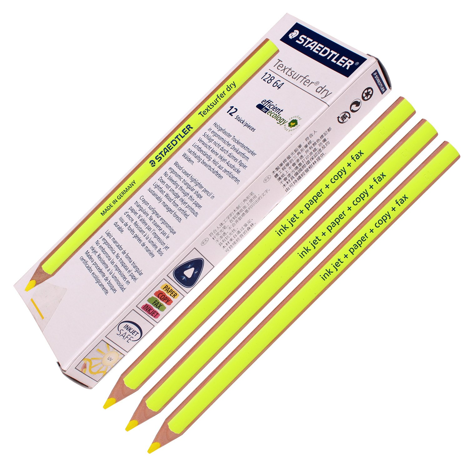 Staedtler Textsurfer Dry Highlighter Pencil 128 64 Drawing for Writing Sketching Inkjet,paper,copy,fax (Pack of 12 Yellow)