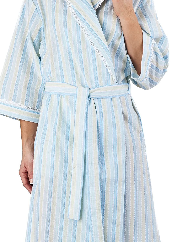 Slenderella HC1225 Women s Stripe Seersucker Blue Dressing Gown Loungewear  Bath Robe 3 4 Length Sleeve Robe 20 22  Slenderella  Amazon.co.uk  Clothing 849241d75