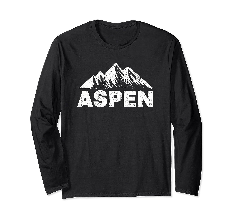 Aspen Colorado With Mountains Distressed Home T-Shirt-Awarplus