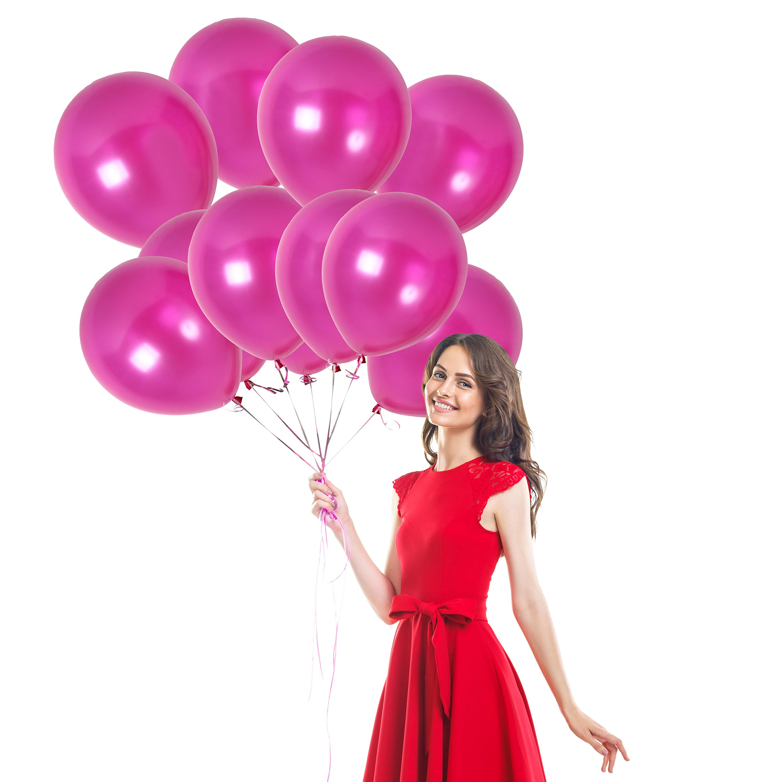 100pcs of 12-Inch Thick Shiny Metallic Latex Magenta Fuchsia Pink Balloons with Ribbon Wedding Decorations Graduation Party Birthday Valentines by Treasures Gifted