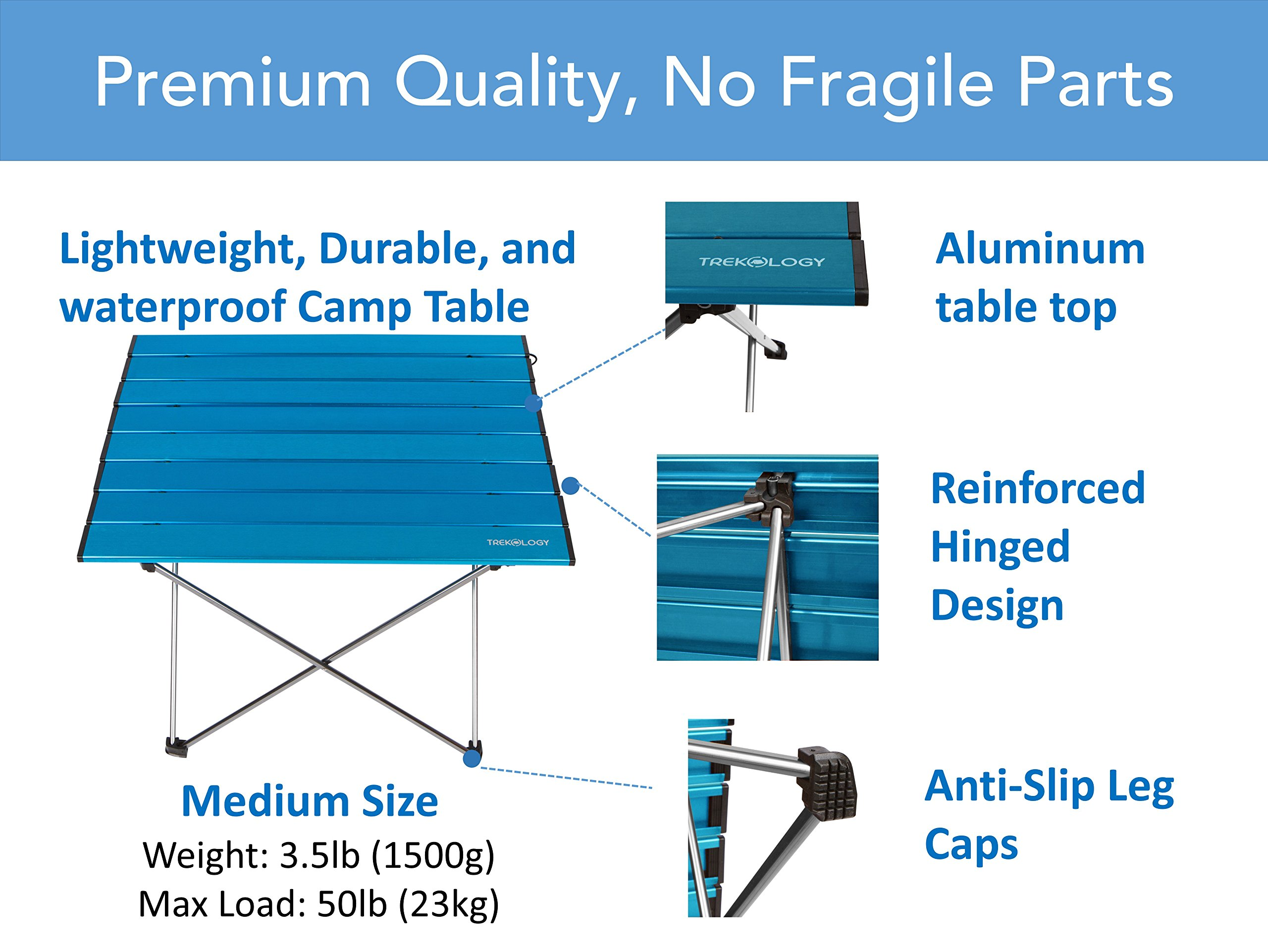Trekology Portable Camping Side Tables Aluminum Table Top: Hard ...