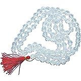 RUDRADIVINE Diamond Cut Rock Crystal Sphatik Mala 6 mm (108+1) Transparent Beads for Men and Women