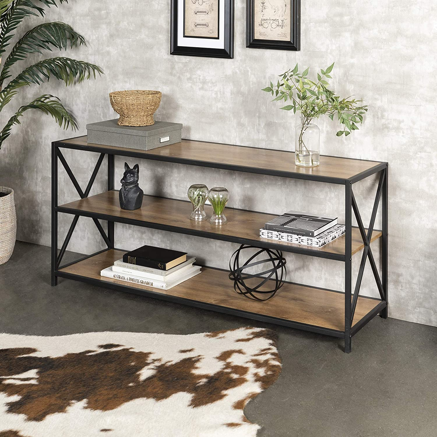 Amazon com we furniture industrial bookshelf powder coated steel barnwood one size kitchen dining