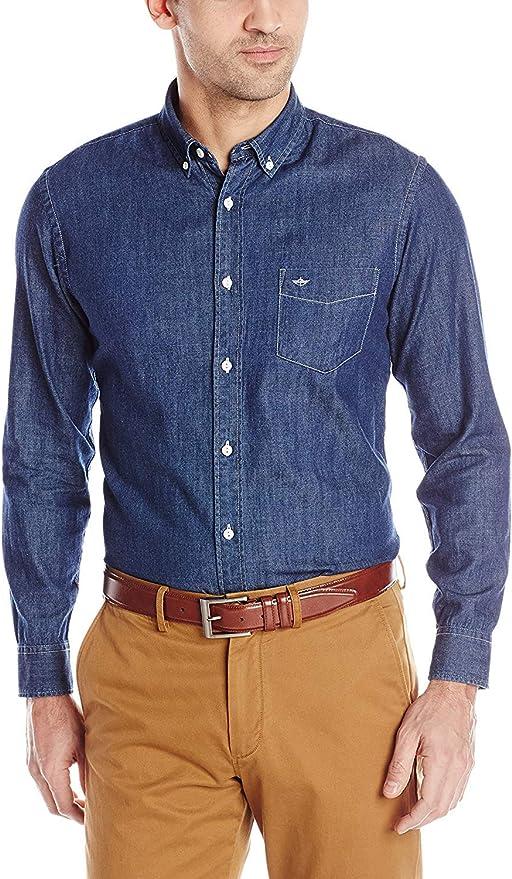 Dockers Camisa de button-down Chambray para Hombres: Amazon ...