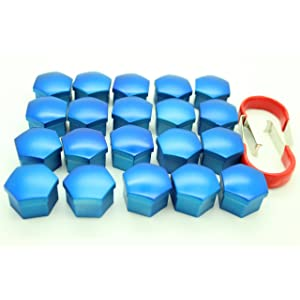 Set x20 Silicon Car Tuning Vehicle Wheel Nut Cover Bolt Cap Cover Set 8Color 21mm, Blue