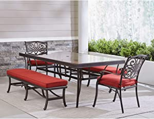 Hanover TRADDN5PCGBN-RED Traditions 5-Piece Dining Set in Red Outdoor Furniture