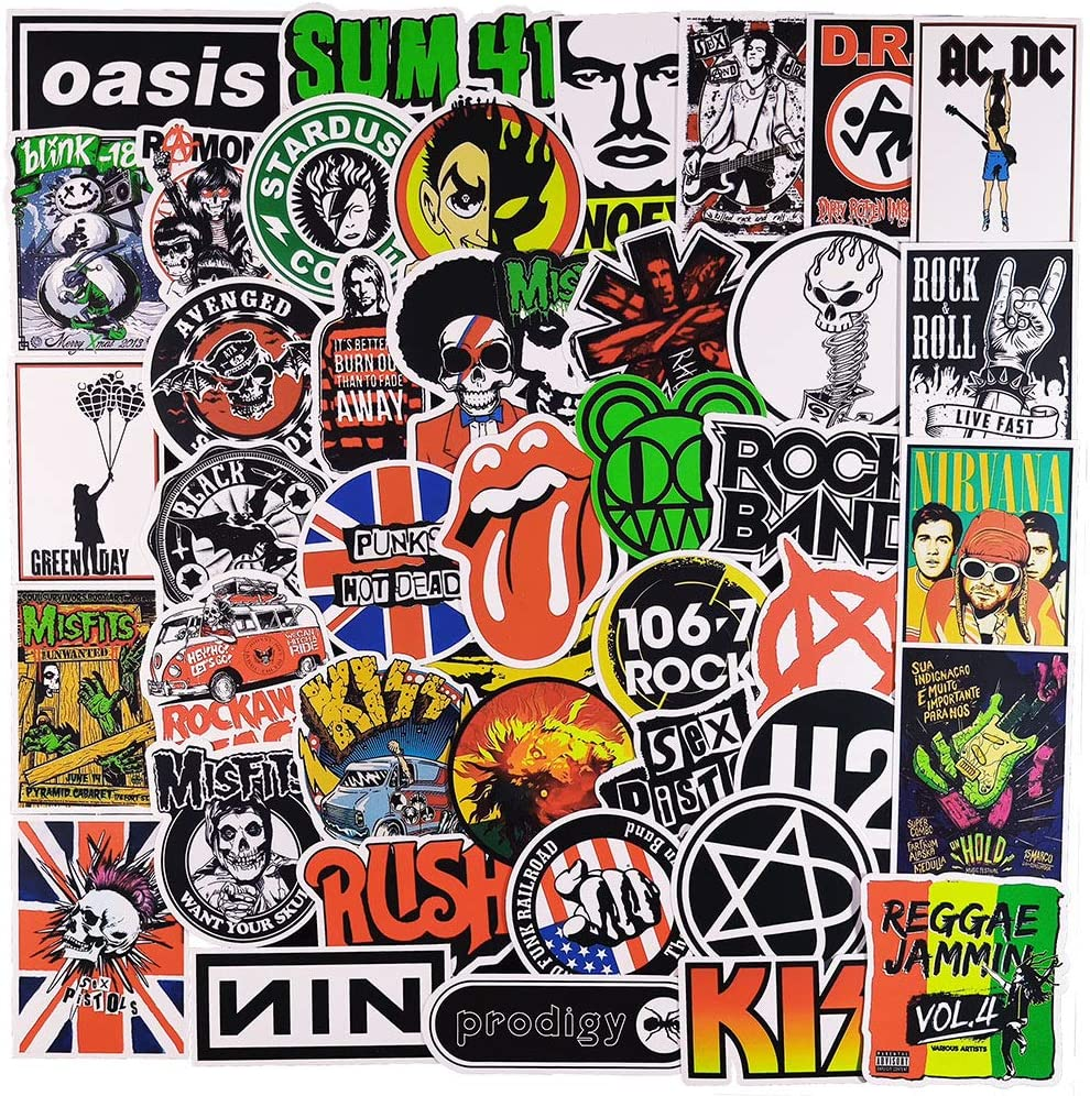 100 Pcs Cool Trendy Non-Duplicated Rock Music Theme Stickers for Boys Teens Girls Adult,Funny Aesthetic Stickers Decals for Laptop MacBook Phone Luggage Guitar Helmet Waterbottle Hydroflask Car Bike.