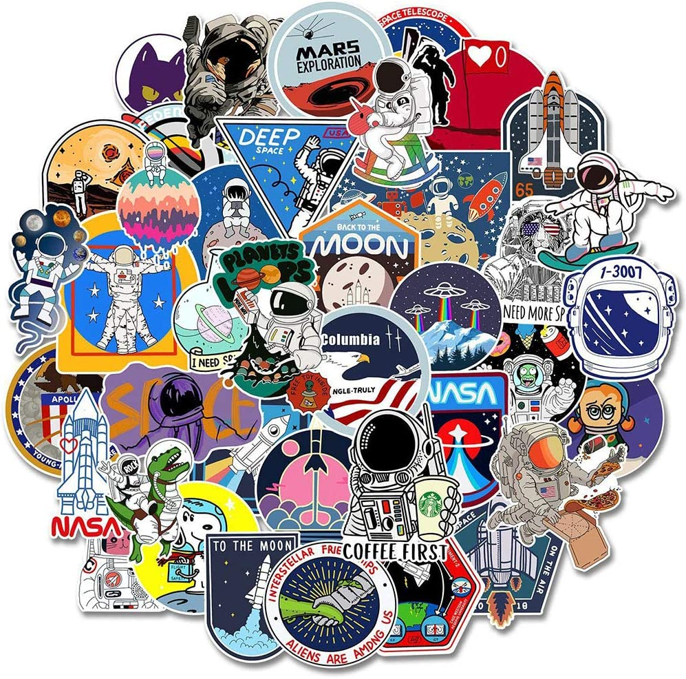 NASA Stickers Pack, Galaxy Graffiti Stickers for Water Bottle Hydro Flask Laptop Car Skateboard, Outer Space Explorer Stickers for Kids and Adult, 50Pcs (NASA Style)