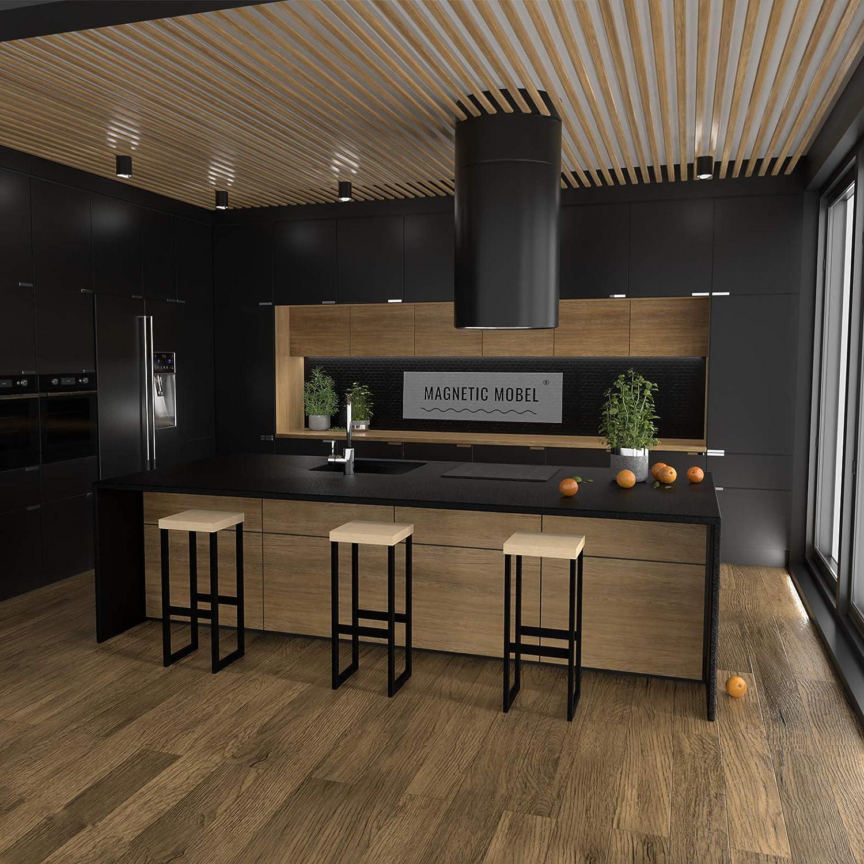 Faggio, 47 cm Magnetic Mobel Sgabelli Alti Bar Vintage Cucina Moderni in Ferro Industriali Design Impilabili Sgabello Alto da Bar Nero