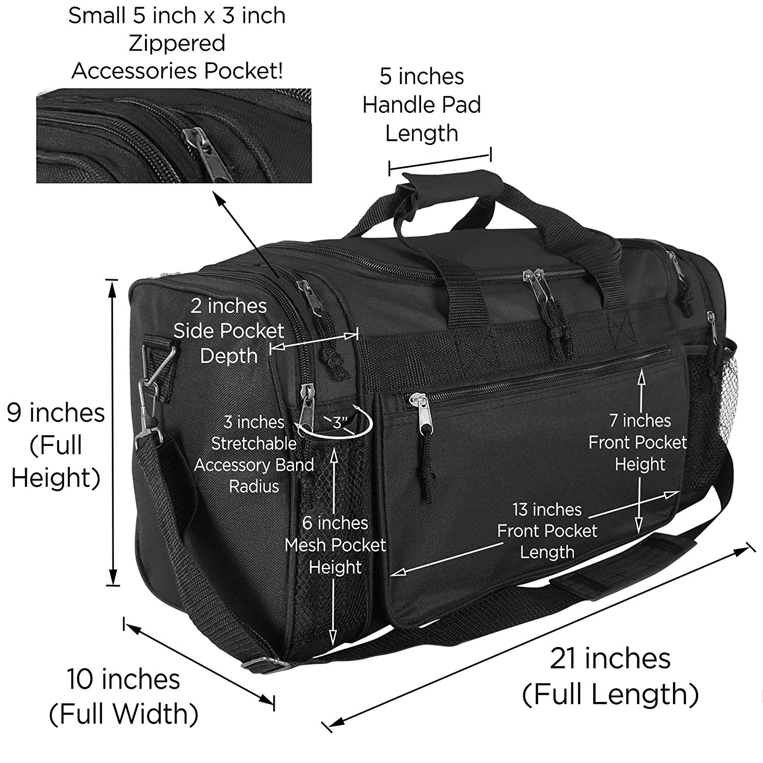 dac88024783c Amazon.com  Dalix 20 Inch Sports Duffle Bag with Mesh and Valuables  Pockets