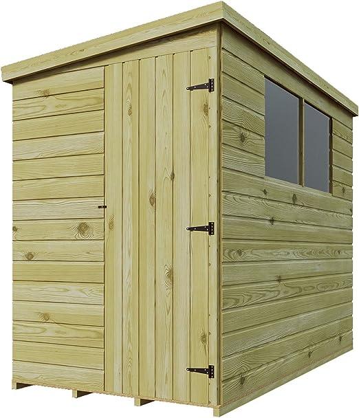 9 x 3 de madera tratada a presión caseta de jardín cobertizo (Lean Tongue & Groove Pent cobertizo con Windows lado de alta: Amazon.es: Jardín