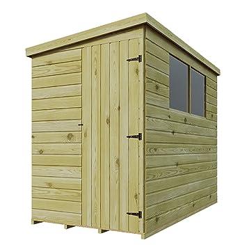 8 x 4 de madera tratada a presión caseta de jardín cobertizo (Lean Tongue &