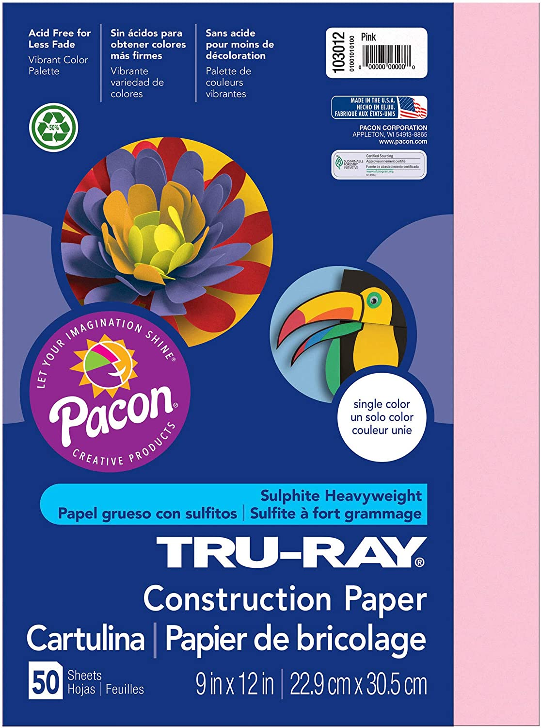 "B00008XPGI Tru-Ray Heavyweight Construction Paper, Pink, 9"" x 12"", 50 Sheets 81kSUWB-O0L"