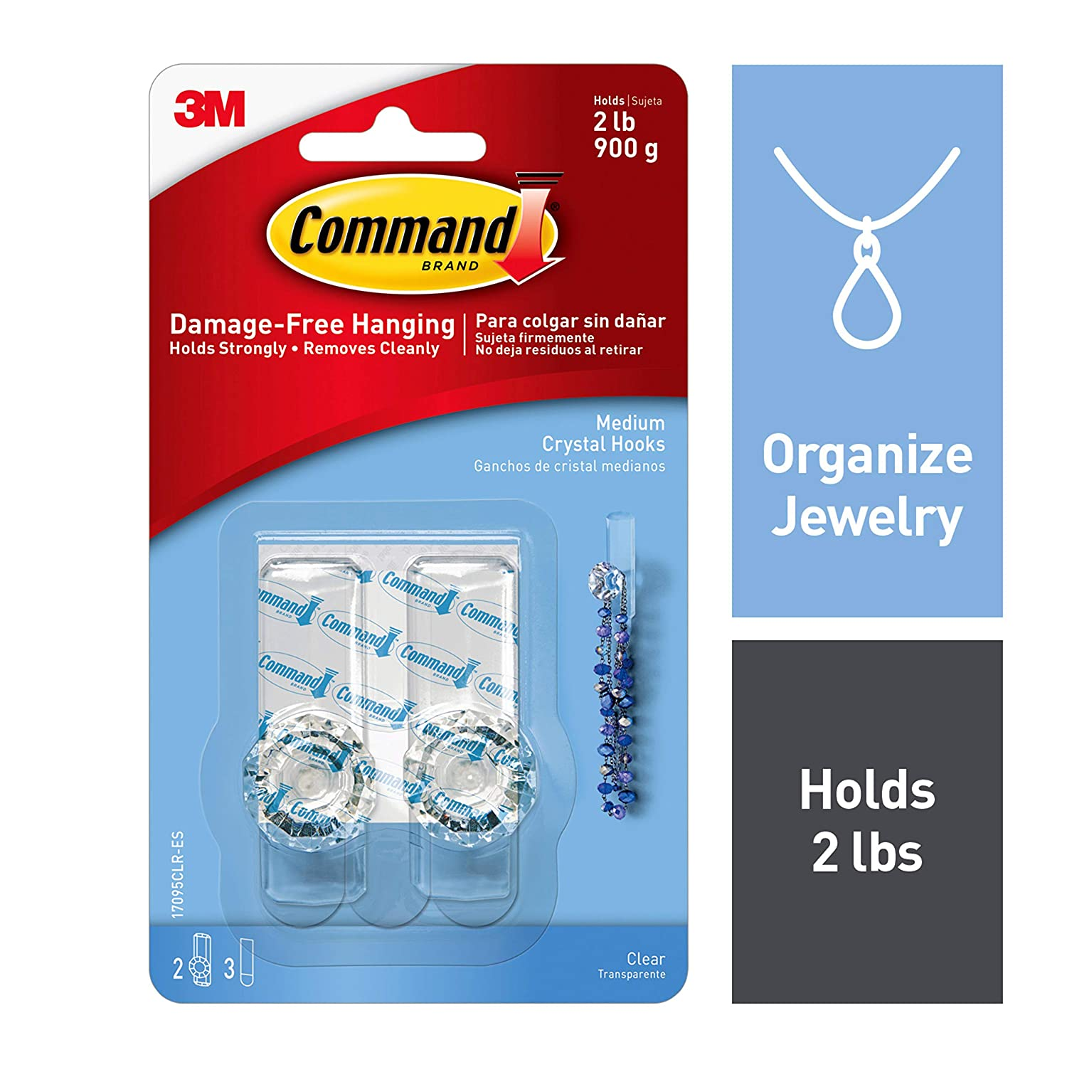 Command Crystal Knobs, Organize Damage-Free, 2 hooks, 3 strips, Clear (17095CLR-ES)