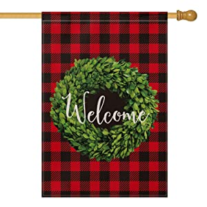 AVOIN Christmas Boxwood Wreath Welcome House Flag Vertical Double Sided, Winter Buffalo Check Plaid Rustic Farmhouse Burlap Flag Yard Outdoor Decoration 28 x 40 Inch