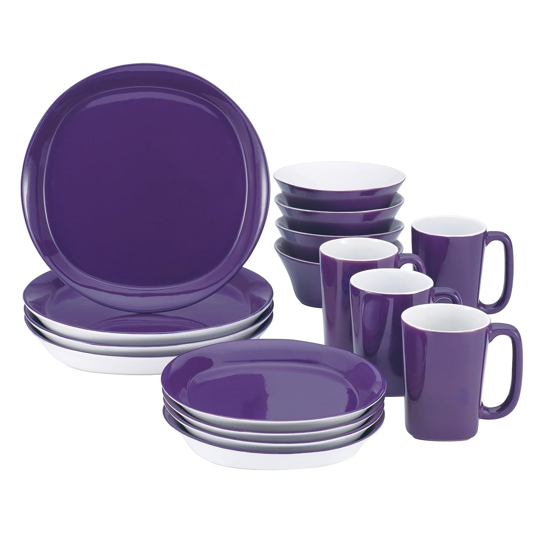 amazon com rachael ray dinnerware round and square 16 piece amazon com rachael ray dinnerware round and square 16 piece dinnerware set purple rachel ray pruple dinnerware set kitchen dining
