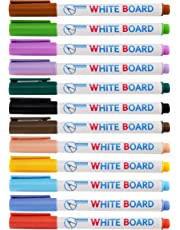 RIANCY Dry Erase Markers,Washable Whiteboard Marker,Fine Point,Quick-Drying,Low-Odor Ink Comfortable Grip Vivid Lines 12 Assorted Colors for Whiteboards Glass and Most Non-Porous Surfaces