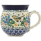 Polish Pottery Bubble Mug 12 ounces Green Bird Garden UNIKAT