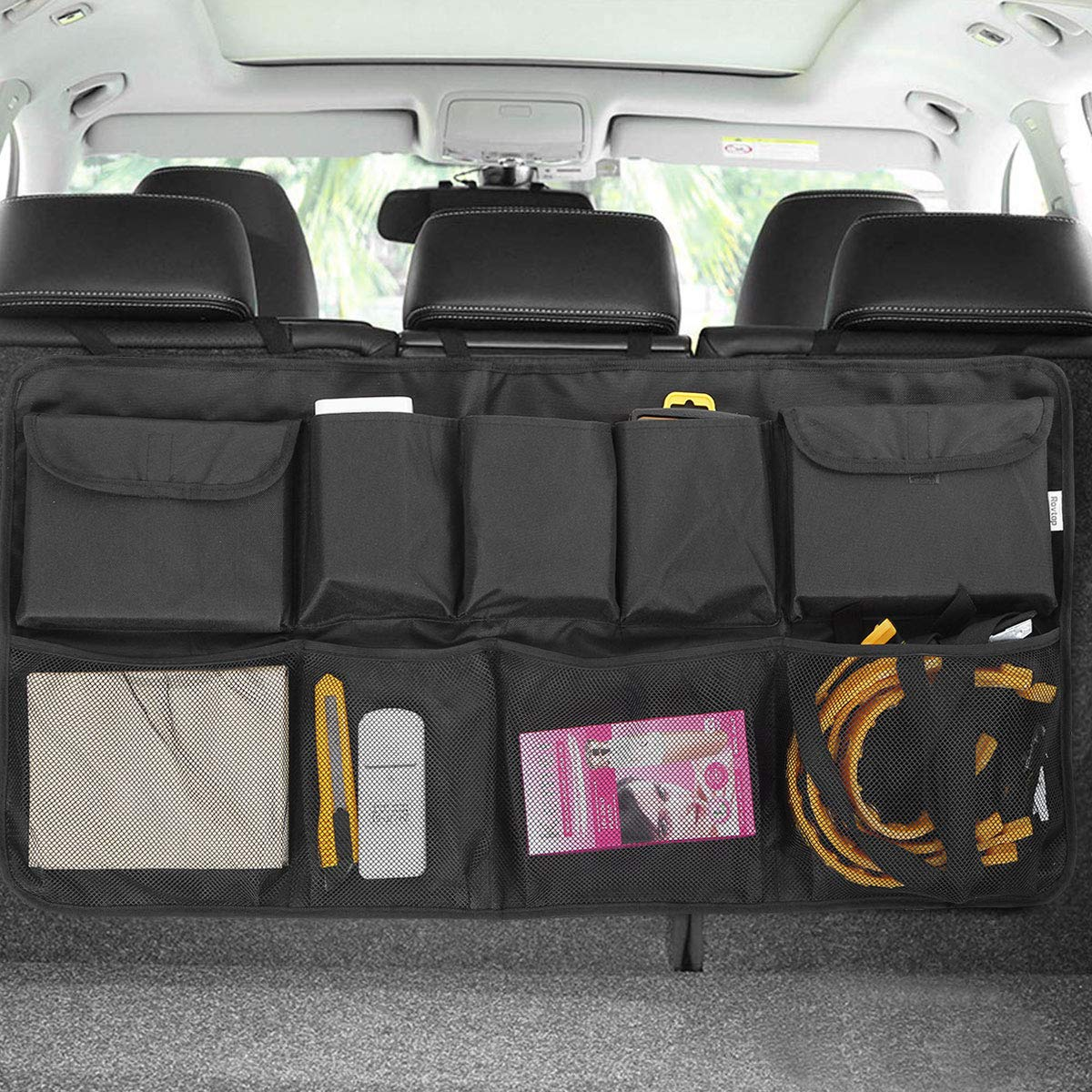 Car Backseat Trunk Organizer, Auto Hanging Back Seat Storage, Car Cargo Trunk Storage Organizer Bag for Truck, SUV, Van with Adjustable Straps by LAurth