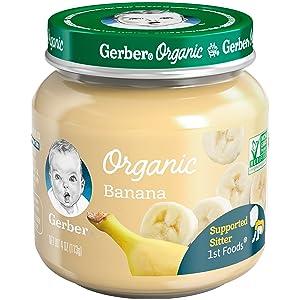 Gerber Purees Organic 1st Foods Banana Baby Food Glass Jar, 4 oz