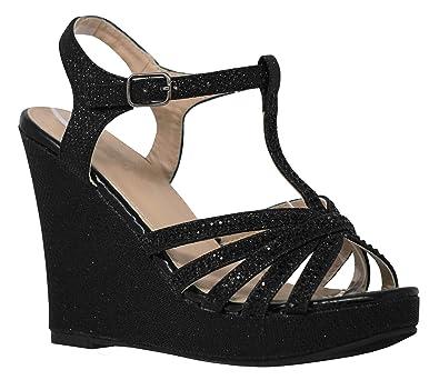 MVE Shoes Women s High Heel Wedges Sandals - Cute Crystal Details Party  Sandals d5d2eafd39