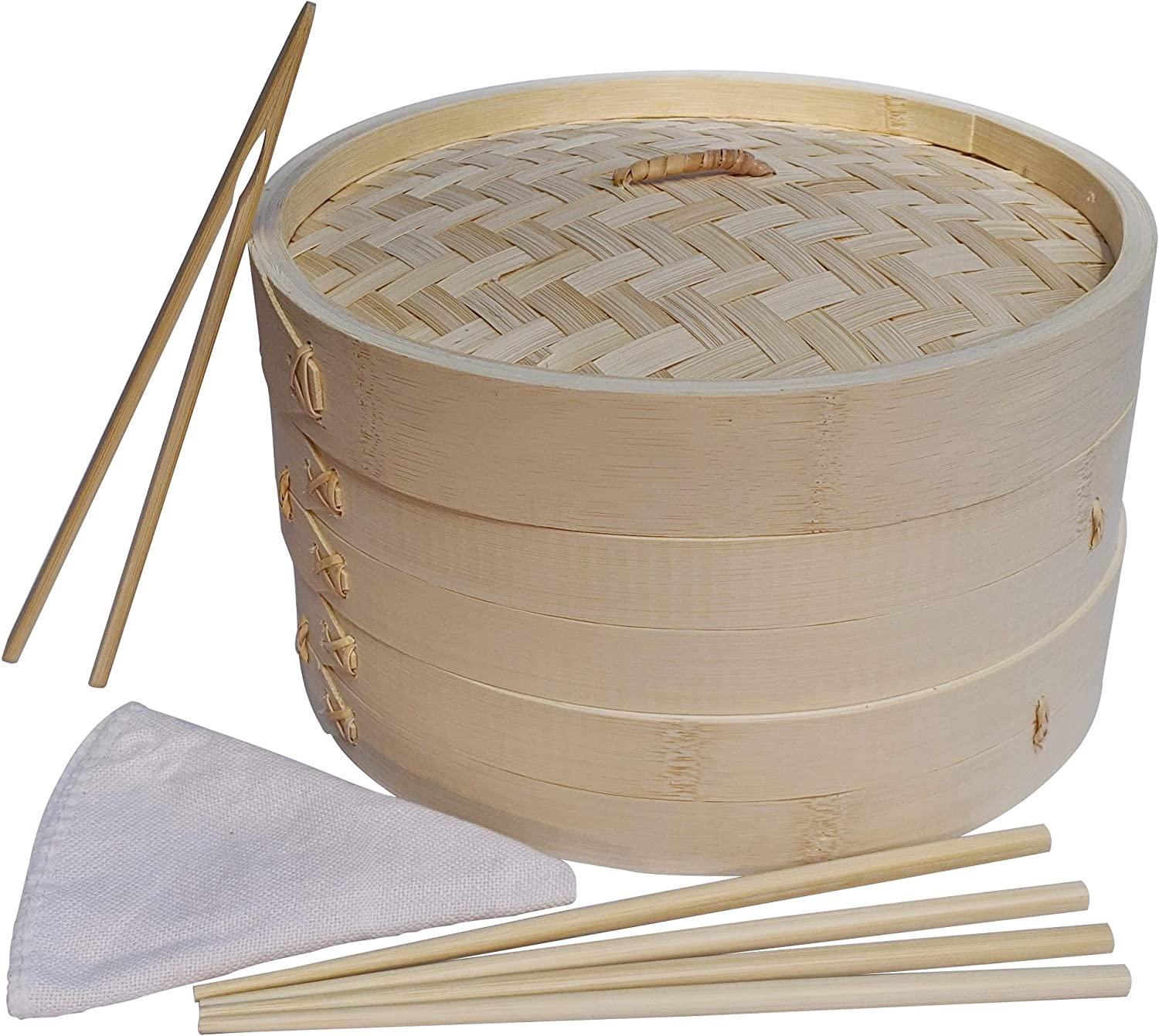 Bamboo Steamer Set - Includes Two 10 Inch Wooden Baskets, Chopsticks, Tongs and Cloth Liners - Steam and Cook Fish, Dumplings and Vegetables - For Steaming Dim Sum, Chicken, Shrimp, Rice and Bao Buns