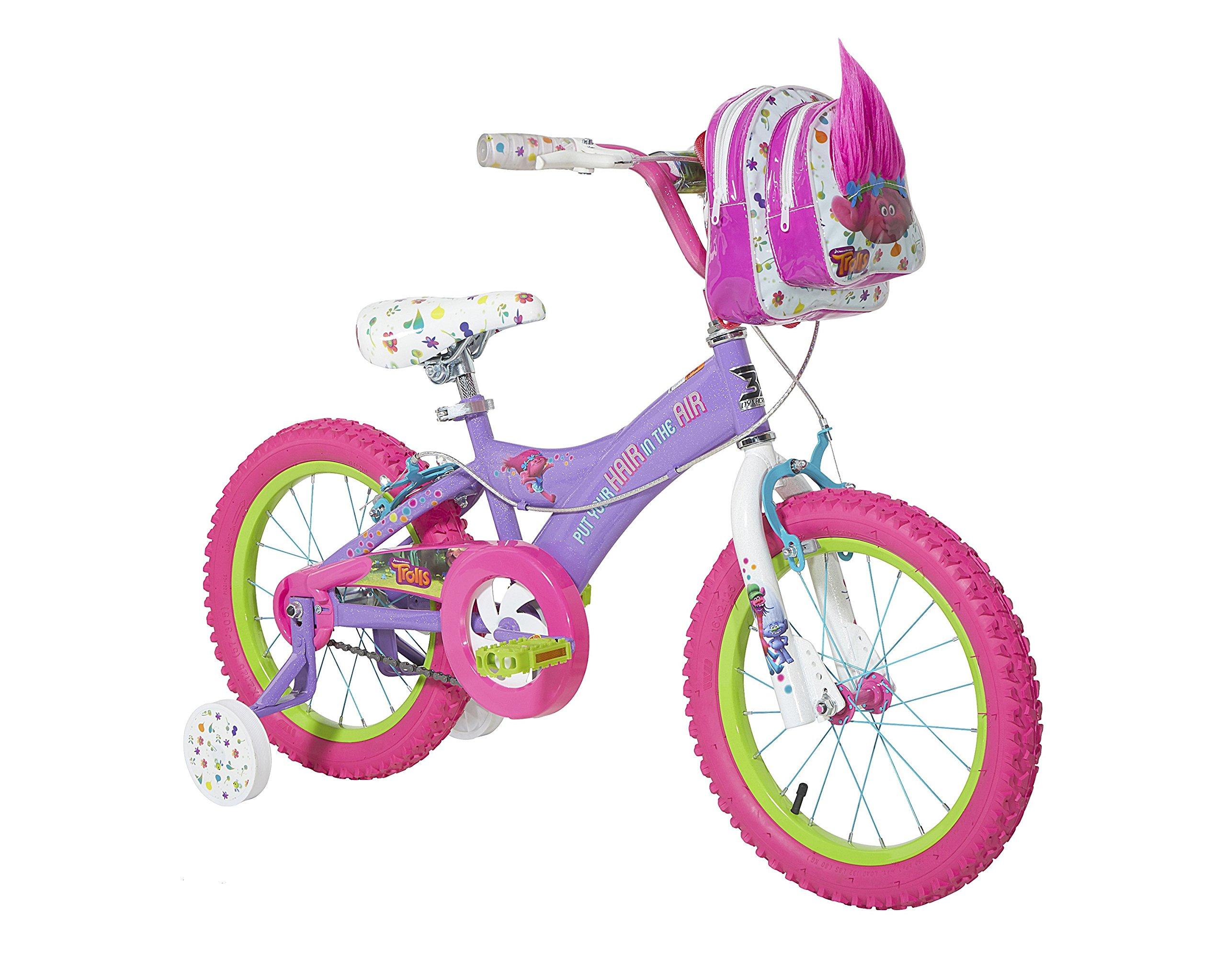 Trolls Dynacraft Girls BMX Street/Dirt Bike with Hand Brake 16'''' Purple/Pink/Green