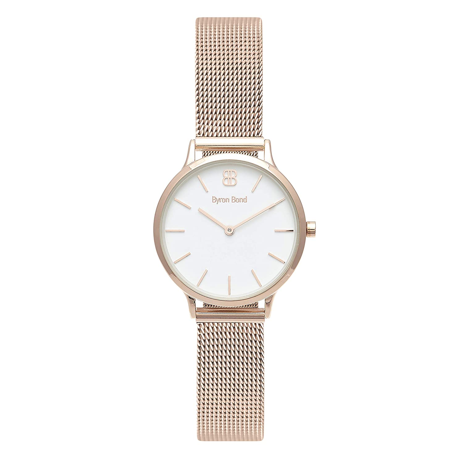 Amazon.com: Byron Bond Mark 5 - Luxury 32mm Wrist Watches for Women (Dean - Rose Gold Case with White Dial and Rose Gold Mesh Strap): Byron Bond: Watches