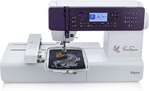 EverSewn Hero - 400-Stitch Computerized Sewing Machine, Sewing or Embroidery: Embroidery Module & USB port, Compact & Lightweight