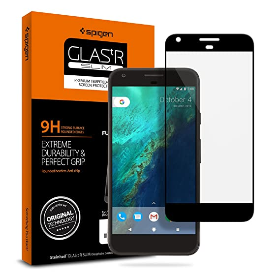 reputable site 4aefb 56a6a Spigen Tempered Glass Google Pixel Screen Protector [ Case Friendly ] [  Maximum Protection ] for Google Pixel (2016 Release) - Black
