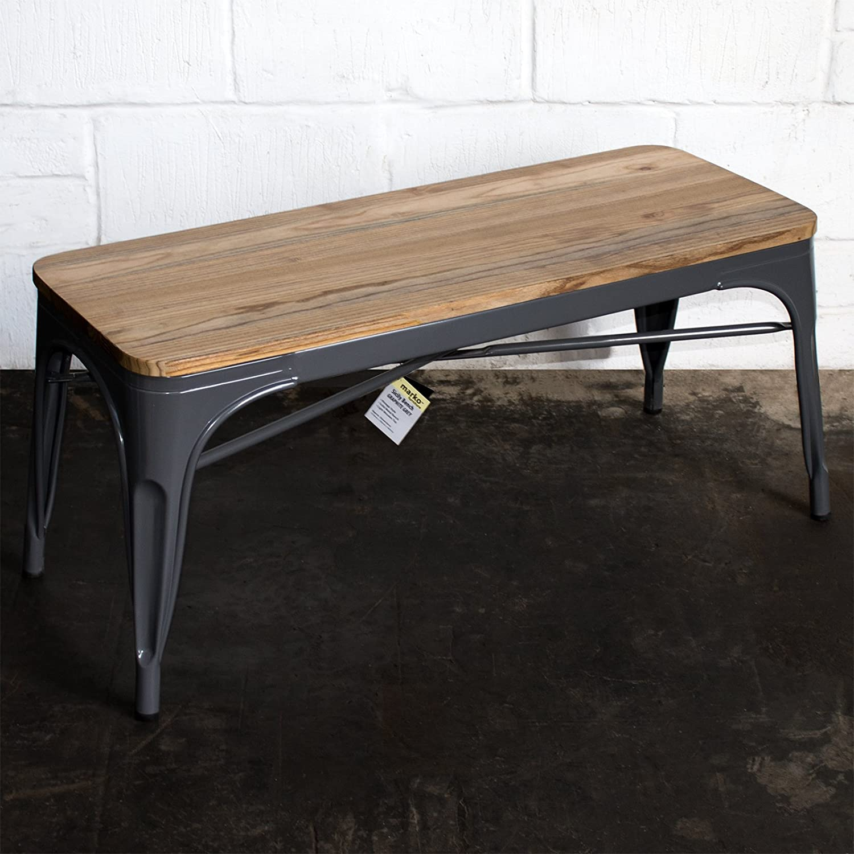 - Marko Furniture Industrial Bench Seat Metal Rustic Vintage