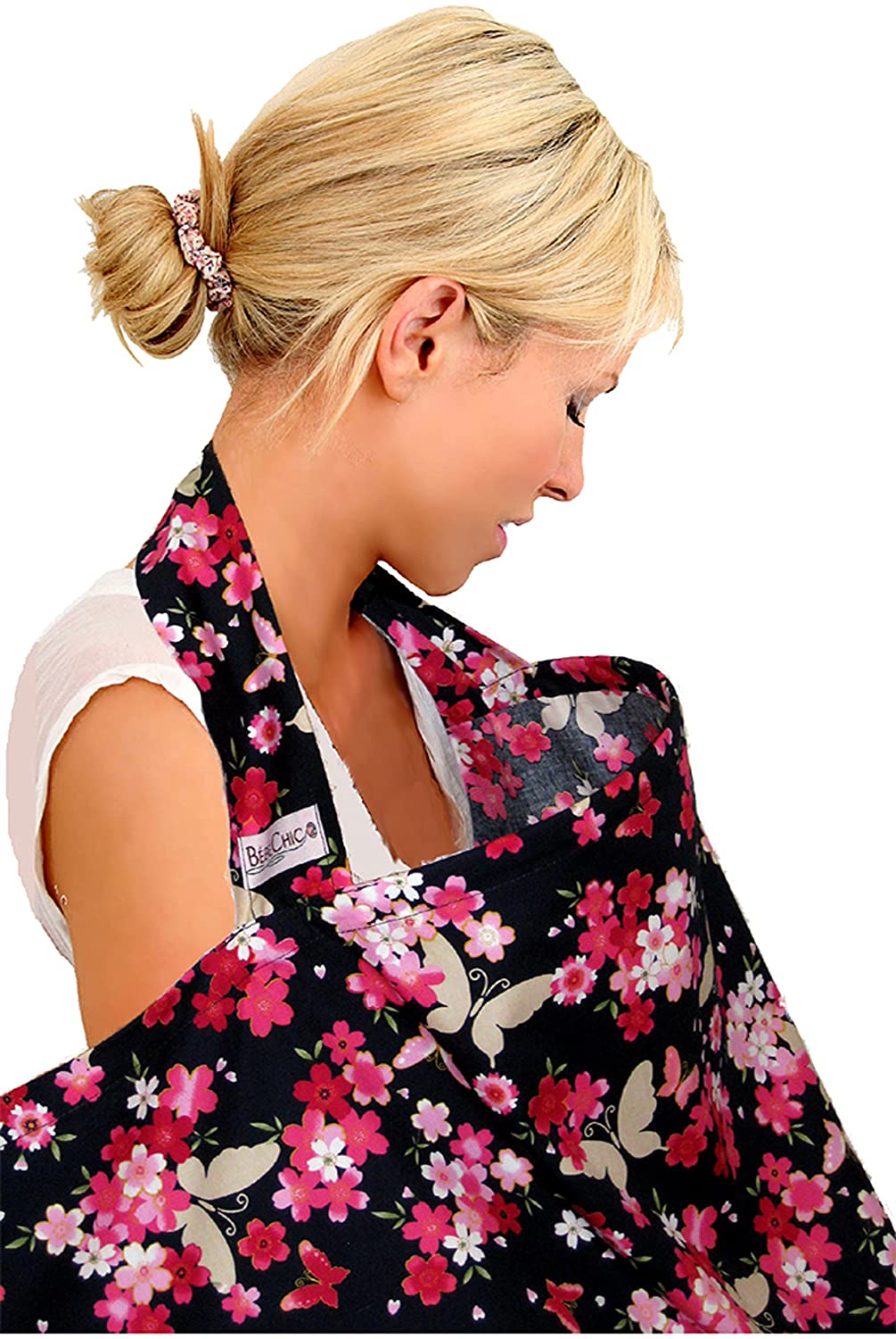 BebeChic.UK * Top Quality Oeko-Tex® Certified 100% Cotton * Breastfeeding Covers * Boned Nursing Tops - with Storage Bag - butterfly floral BebeChic Limited