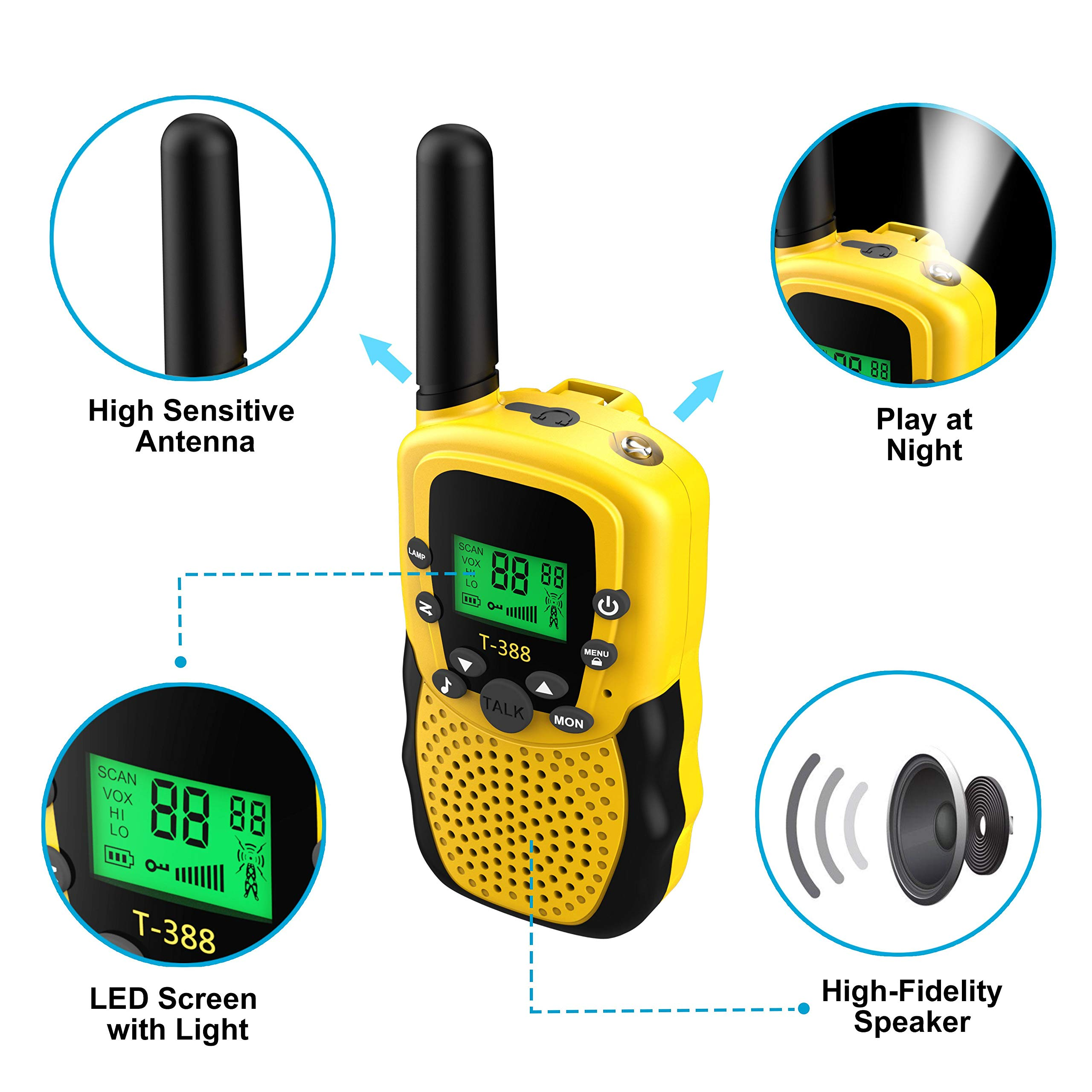 Walkies Talkies for Kids, 22 Channels FRS/GMRS UHF Two Way Radios 4 Miles Handheld Mini Kids Walkie Talkies for Kids Best Gifts Kids Toys Built in Flashlight by JimBest1970 (Image #6)