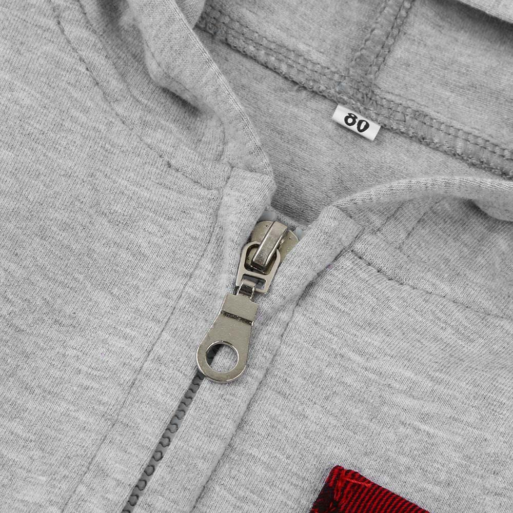 IMJONO Infantile B/éb/é Gar/çon Fille Plaid Zipper Doux /À Capuche Romper Tenues V/êtements Combinaison Nouveau-N/é