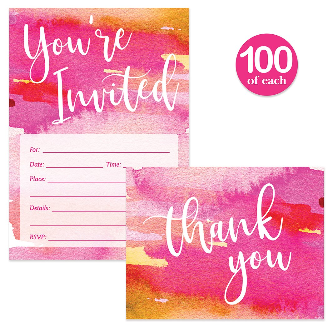 All Occasion Invitations & Matching Thank You Notes & Envelopes ( 100 of Each ) Set of Beautiful Pink Blended Ombre Design Bridal Shower or Birthday Guest Invites & Thank You Cards Great Value Pair