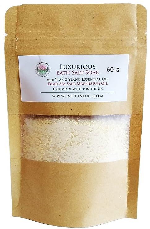 ATTIS Lujoso jabón de sal de baño con aceite esencial Ylang Ylang, aceite de magnesio