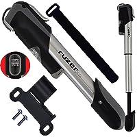 RUZER - Mini bomba telescópica para bicicleta o bomba de bola de aleación de 17,8 cm de calibre Presta Schrader (adaptador de válvula reversible) 140 PSI 9.7 BAR Track pinchazos Kit de reparación para neumáticos de fútbol