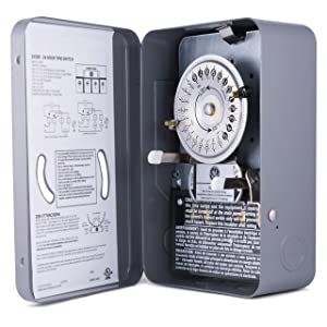GE 24-Hour Indoor Heavy Duty Mechanical Water Heater Timer Switch - 240 VAC - NEMA 1-Rated Metal Enclosure 40 Amp, Lockable and Tamper Resistant, Double Pole Single Throw, 15328