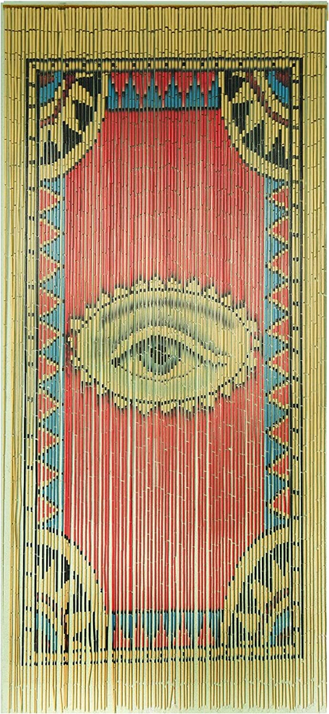 TACHILC The Eye Bamboo Beaded Curtain for Doorway, Boho Beaded Curtain for Closets, Door Beads Decoration, Bamboo Beads for Doorways 35.5 in x 78 in