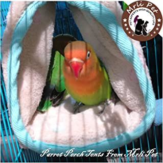 Parrot Perch Tents, Mrlipet Winter Warm Bird Nest House Plush Hammock Hanging Cave Happy Hut Hideaway for Macaw African Grey  Eclectu Parakeet Cockatiels Cockatoo Conure Lovebird Cage Toys
