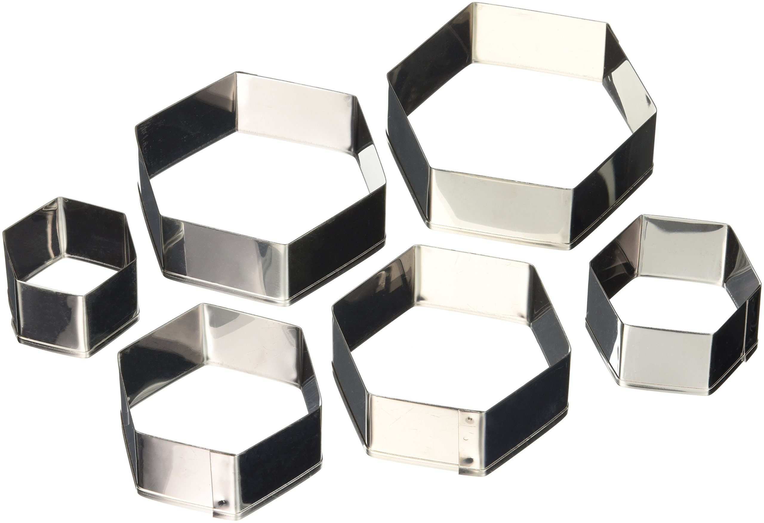 Ateco 5251 Plain Edge Hexagon Cutters in Graduated Sizes, Stainless Steel, 6 Pc Set