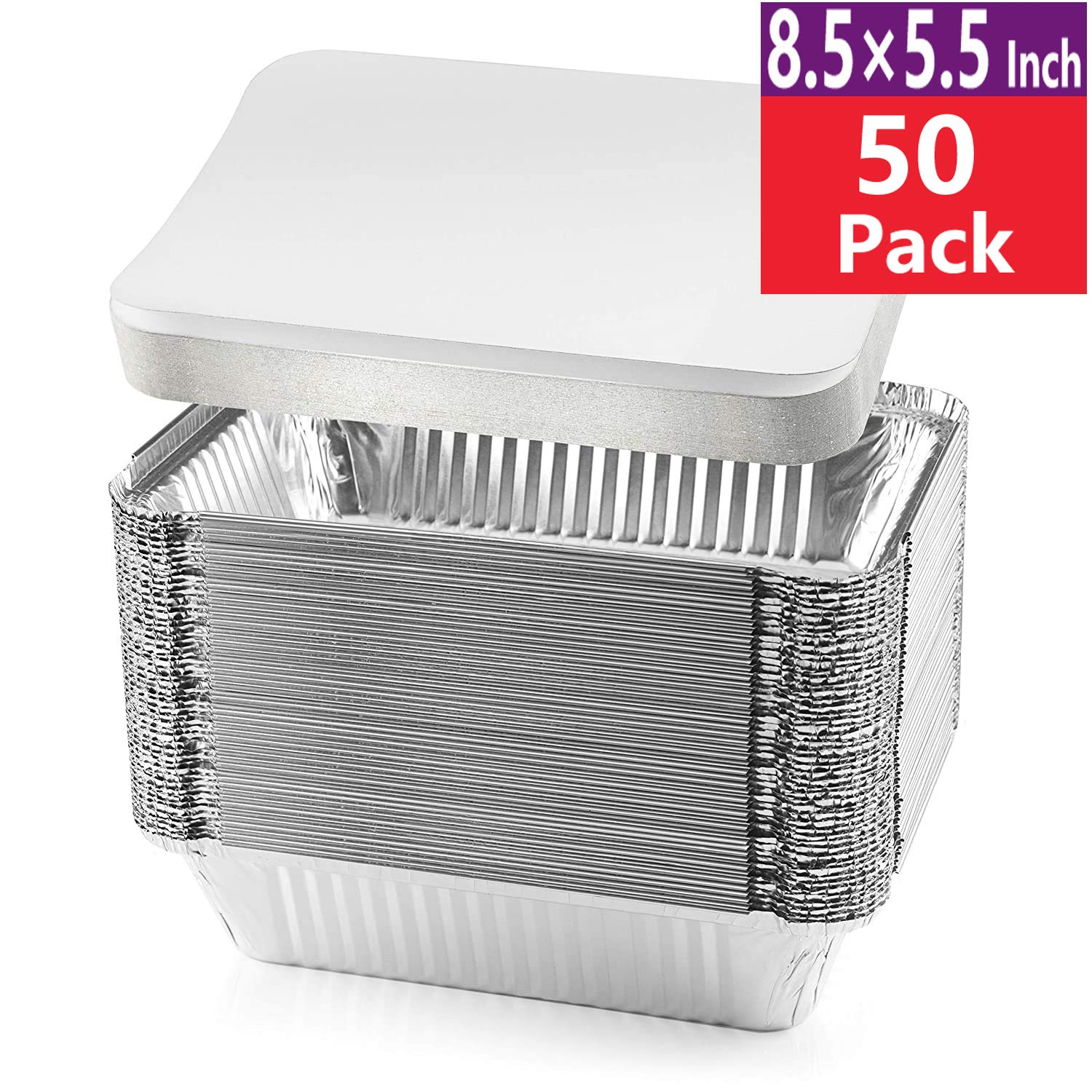 "8.5×5.5"" Inch 50 Pack of Disposable Takeout Pans with Lids –2 Lb Capacity Aluminum Foil Food Containers Safe for use in Freezer, Oven, and steam Table. – Strong Seal for Freshness - by Lsshao"