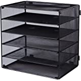 EASEPRES 5 Slot Desk Organizer Tray, Mesh File Paper Letter Tray Desktop Paper Sorter Literature Organizer Rack for Home, Office, or School, Black