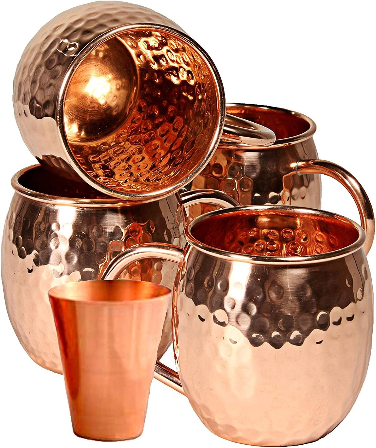 Amazon Com Solid Copper Moscow Mule Copper Mugs Handcrafted 100 Pure Hammered Copper 16 Oz Authentic Cups With Copper Handle Set Of 4 Bonus Free Set Of 4 Coasters Free Recipe E Book