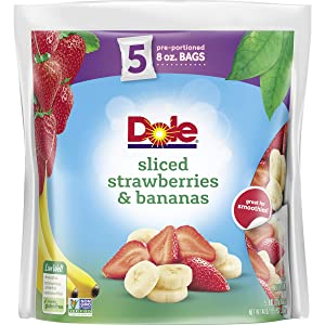 DOLE Frozen Sliced Strawberries & Bananas, 40 Ounce Bag with 5 Pre-Portioned Packets
