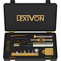 LEXIVON Multifunktionales Butan Lötkolben Kit | Kabellos, Selbstentzündende einstellbare Flamme 7 Aufsätze Set | Profi…