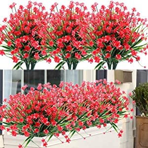 ArtBloom 20 Bundles Outdoor Artificial Fake Flowers UV Resistant Shrubs Plants, Faux Plastic Greenery for Indoor Outside Hanging Plants Garden Porch Window Box Home Wedding Farmhouse Decor (Red)