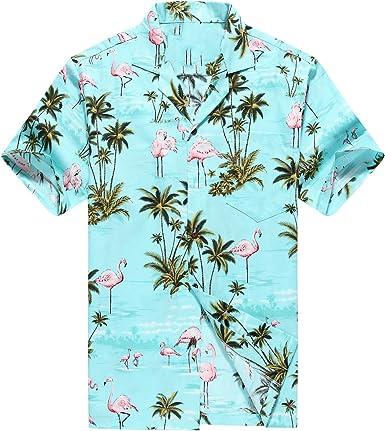 Hecho en Hawaii Camisa Hawaiana de los Hombres Camisa Hawaiana Flamencos Rosados Allover en Turquoise: Amazon.es: Ropa y accesorios