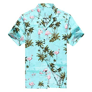 68ec55ff Made in Hawaii Men's Hawaiian Shirt Aloha Shirt M Pink Flamingos Allover in  Turquoise