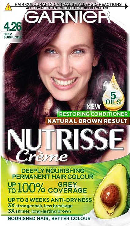 Garnier Nutrisse Tinte para el cabello marrón permanente, hasta 100% cobertura de cabello gris, con 5 aceites acondicionador – 4.26 Deep Burgundy